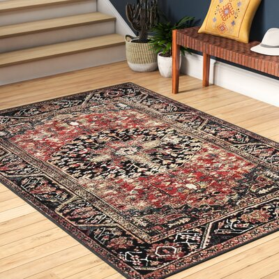 Mccall Red/Black Area Rug Rug Size: Rectangle 53 x 76