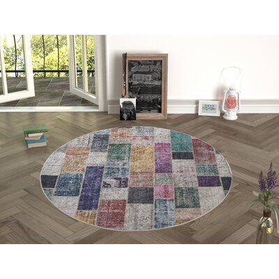 Edgebrook Beige/Pink Indoor/Outdoor Area Rug Size: Round 47