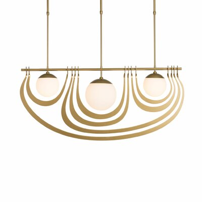Kunze 3-Light Kitchen Island Pendant Finish: Gold, Size: 40.8 H x 41.9 W x 8 D