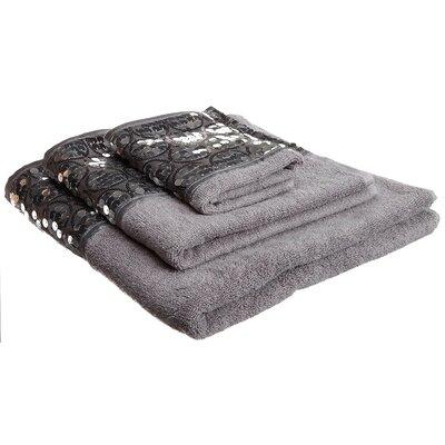 Latrobe Bath Bedazzled Bling 3 Piece Towel Set Color: Silver