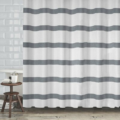 Diehl Bath Waffle Textured Stripe Shower Curtain