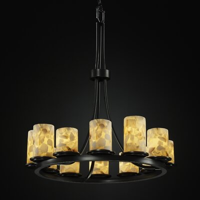 Alabaster Rocks� Dakota 12-Light Candle-Style Chandelier Finish: Matte Black