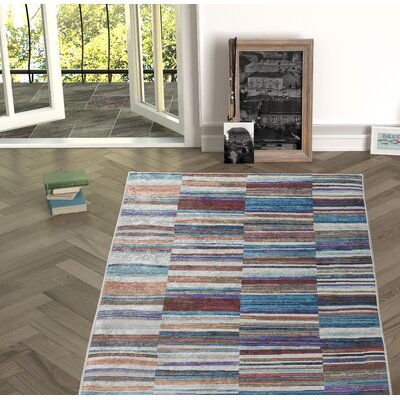 Nyack Red/Blue Indoor/Outdoor Area Rug Size: Rectangle 53 x 76