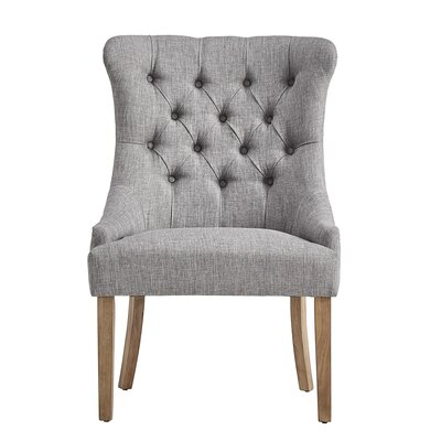 Kyzer Distressed Tufted Side Chair Upholstery: Gray