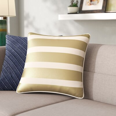 Carnell Stripe Cotton Throw Pillow Cover Color: Metallic Gold/White