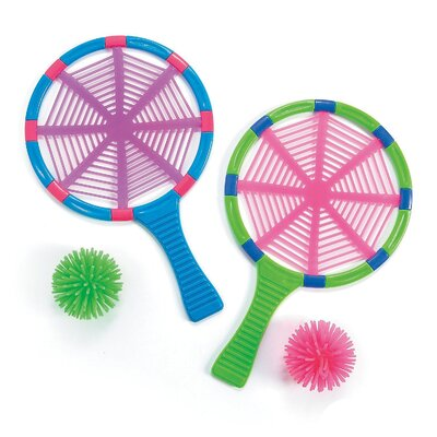 "Spider Whack Racket With Porcupine Ball - 2 Sets- Racket 6.5"" X 10"" And Ball 2""- Assorted Colours Which May Vary - For Kids Great Party Favours, Bag Stuffers, Fun, Toy, Gift, Prize - By Kidsco Kc-13747618-w"