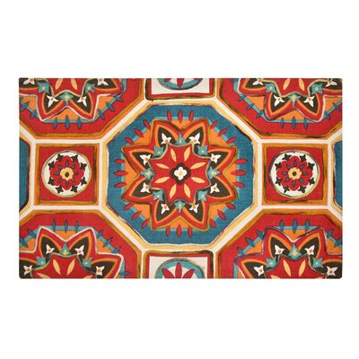Nicklas Red/Blue Area Rug Rug Size: Rectangle 23 x 38