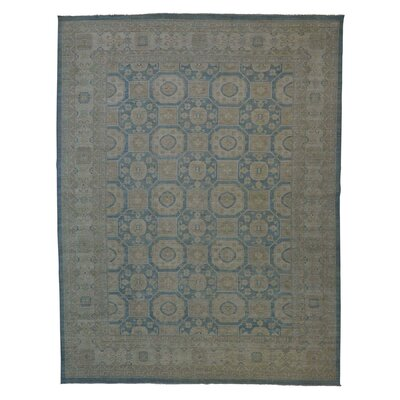 Khotan Oriental Wash Hand-Knotted Blue Area Rug