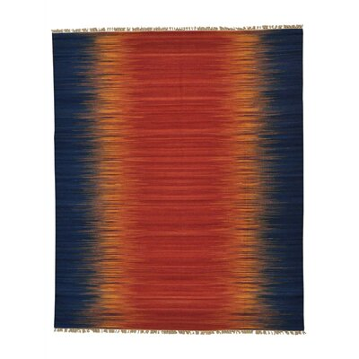 Reversible Sunburst Durie Kilim Oriental Hand-Knotted Blue/Orange Area Rug