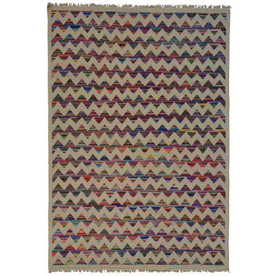 Geometric Durie Kilim Oriental Hand-Knotted Beige/Blue Area Rug Rug Size: Rectangle 98 x 14