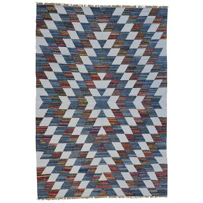 Geometric Durie Kilim Oriental Hand-Knotted White/Blue Area Rug Rug Size: Rectangle 98 x 14