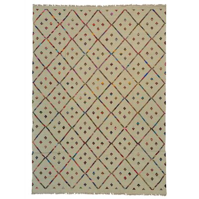 Durie Kilim Oriental Hand-Knotted Ivory Area Rug Rug Size: Rectangle 101 x 143