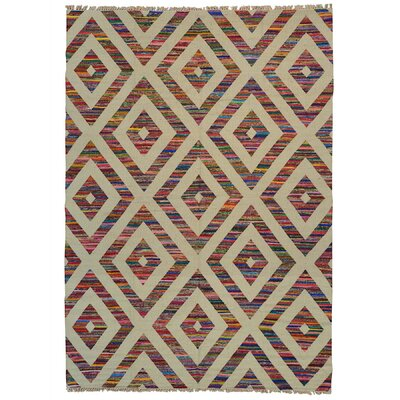 Geometric Durie Kilim Hand-Knotted Beige/Orange Area Rug Rug Size: Rectangle 910 x 14