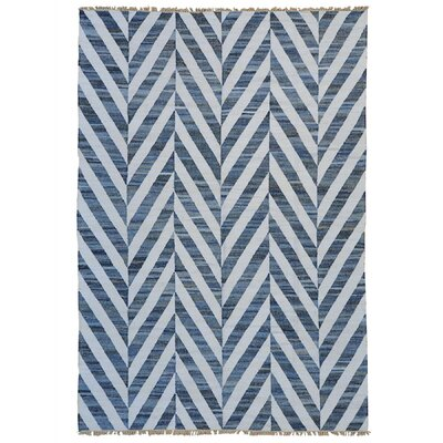 Flat Weave Durie Kilim Oriental Hand-Knotted Off White/Blue Area Rug