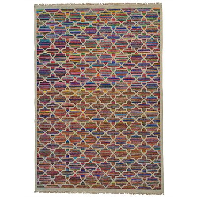 Geometric Durie Kilim Hand-Knotted Beige/Blue Area Rug