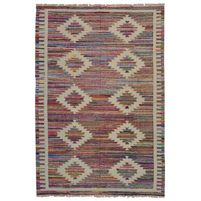 Geometric Durie Kilim Hand-Knotted Beige/Pink Area Rug