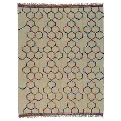 Flat Weave Durie Kilim Oriental Hand-Knotted Ivory Area Rug