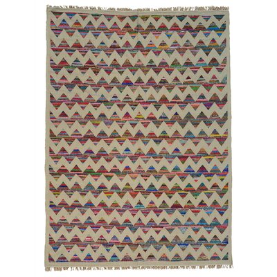 Geometric Durie Kilim Oriental Hand-Knotted Beige/Blue Area Rug Rug Size: Rectangle 88 x 12