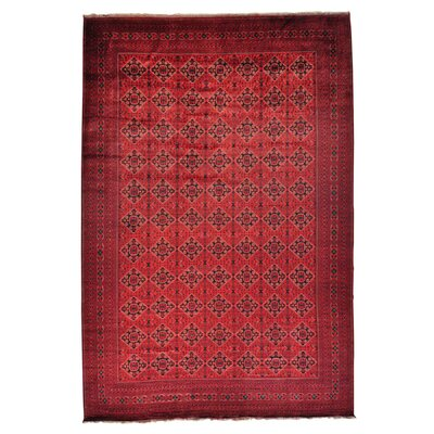 Mansion Afghan Khamyab Oriental Hand-Knotted Red Area Rug