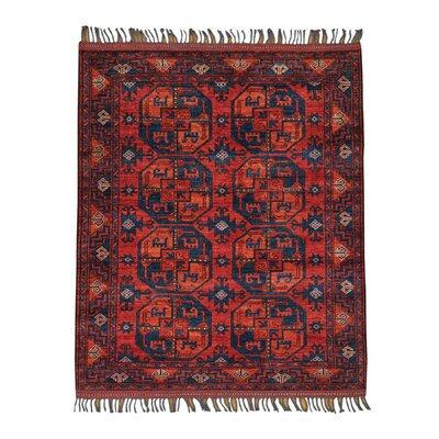 Afghan Ersari Elephant Oriental Hand-Knotted Red Area Rug