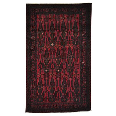 Afghan Baluchi Oriental Hand-Knotted Red Area Rug