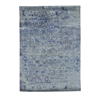 Broken Oriental Hand-Knotted Silk Blue Area Rug
