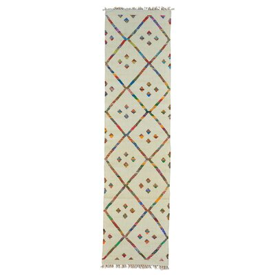 Durie Kilim Oriental Hand-Knotted Ivory Area Rug