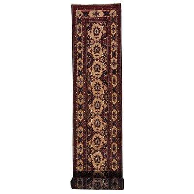 Fine Khamyab Oriental Hand-Knotted Black/Maroon Area Rug