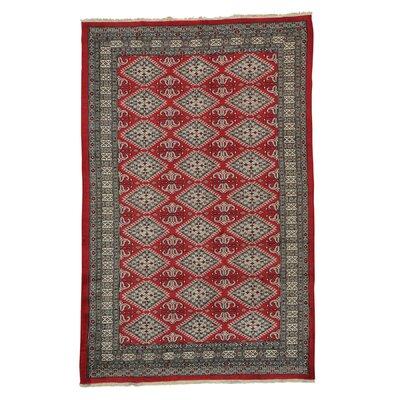 Jaldar Bokara Oriental Hand-Knotted Red Area Rug