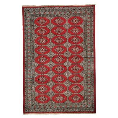 Oriental Jaldar Bokara Hand-Knotted Red Area Rug
