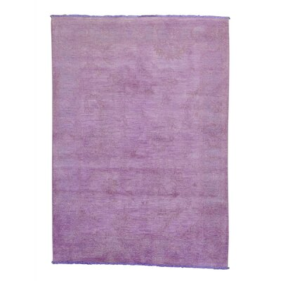 One-of-a-Kind Ovellette Overdyed Hand-Knotted Wool Purple Area Rug