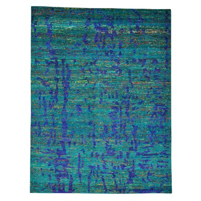 Oriental Cropped Hand-Knotted Silk Aqua/Dark Purple Area Rug