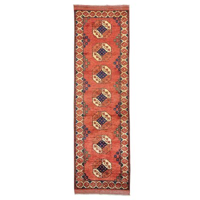 One-of-a-Kind Hoffman Afghan Ersari Elephant Feet Hand-Knotted Wool Red Area Rug