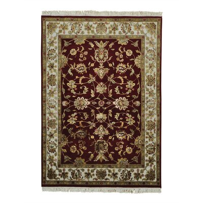 Burgundy Rajasthan Oriental Hand-Knotted Silk Red Area Rug