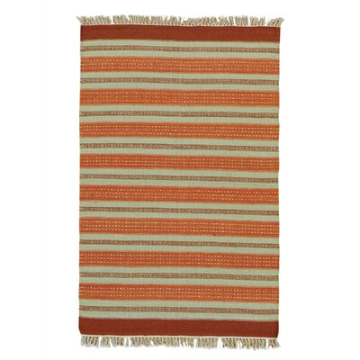 Flat Weave Striped Durie Kilim Oriental Hand-Knotted Beige/Orange Area Rug
