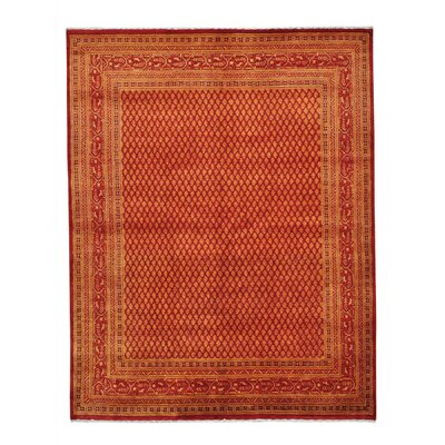 Overdyed Sarouk Mir Oriental Hand-Knotted Silk Red Area Rug