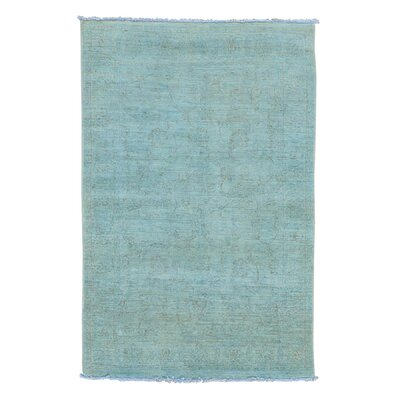 Mahal Overdyed Ziegler Oriental Hand-Knotted Blue Area Rug