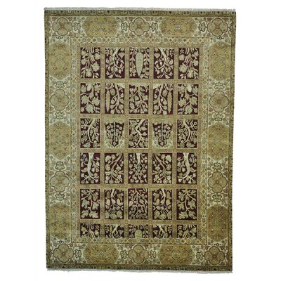 Rajasthan Garden Burgundy Oriental Hand-Knotted Red Area Rug