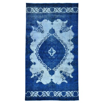 One-of-a-Kind Kenilworth Overdyed Barjasta Vintage Hand-Knotted Wool Blue Area Rug