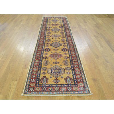 One-of-a-Kind Dorcey Super Kazak Hand-Knotted Wool Yellow Area Rug Rug Size: Runner 27 x 97