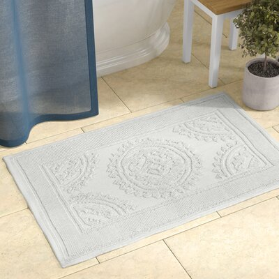 Berrien Cotton Stonewash Medallion Bath Rug Color: White, Size: 17 W x 24 L