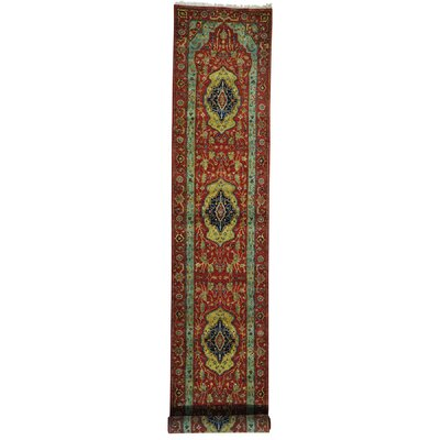 One-of-a-Kind Pietrzak Antiqued Re-creation Pure Hand-Knotted Wool Red Area Rug Rug Size: Runner 27 x 143
