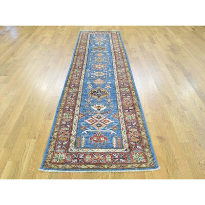One-of-a-Kind Dorcey Super Kazak Tribal Hand-Knotted Wool Blue Area Rug Rug Size: Runner 28 x 101