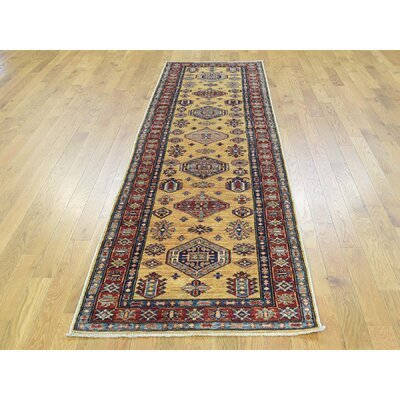 One-of-a-Kind Dorcey Super Kazak Hand-Knotted Wool Yellow Area Rug Rug Size: Runner 28 x 97