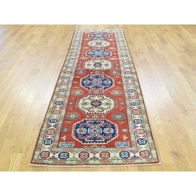 Sanjuana One-of-a-Kind Kazak Tribal Hand-Knotted Wool Red Area Rug Rug Size: Runner 28 x 95