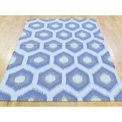 One-of-a-Kind Fleener Flat Weave Reversible Hand-Woven Wool Blue/Gray/Ivory Area Rug Rug Size: Rectangle 4 x 6