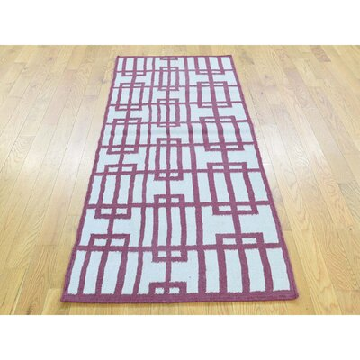 One-of-a-Kind Cilley Flat Weave Reversible Hand-Woven Wool Pink/Ivory Area Rug Rug Size: Rectangle 3 x 54