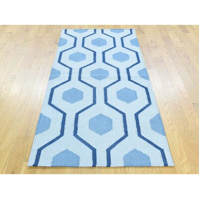 One-of-a-Kind Zeiger Flat Weave Reversible Hand-Woven Wool Blue Area Rug Rug Size: Rectangle 32 x 5