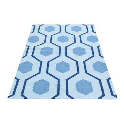 One-of-a-Kind Zeiger Flat Weave Reversible Hand-Woven Wool Blue Area Rug Rug Size: Runner 27 x 6
