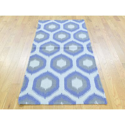 One-of-a-Kind Fleener Flat Weave Reversible Hand-Woven Wool Blue/Gray/Ivory Area Rug Rug Size: Runner 25 x 6
